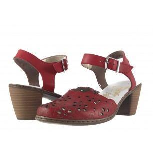 Дамски кожени червени сандали на ток Rieker