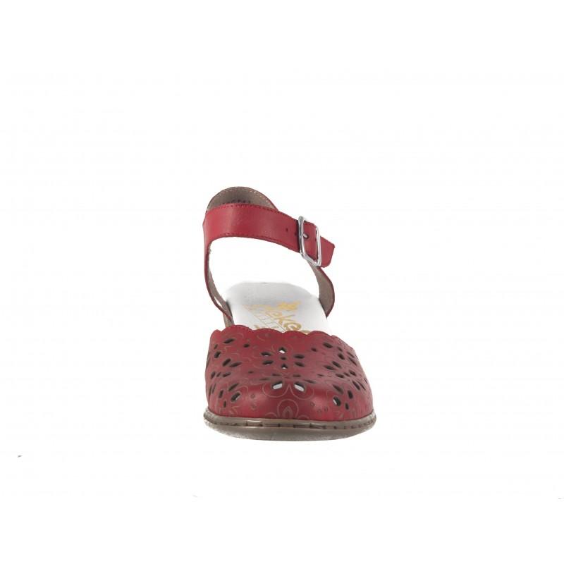 Дамски кожени сандали на ток Rieker червени