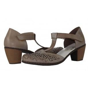 Дамски летни обувки на ток Rieker сиви естествена кожа