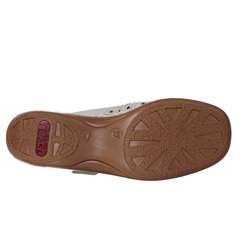 Дамски летни обувки естествена кожа Rieker бели