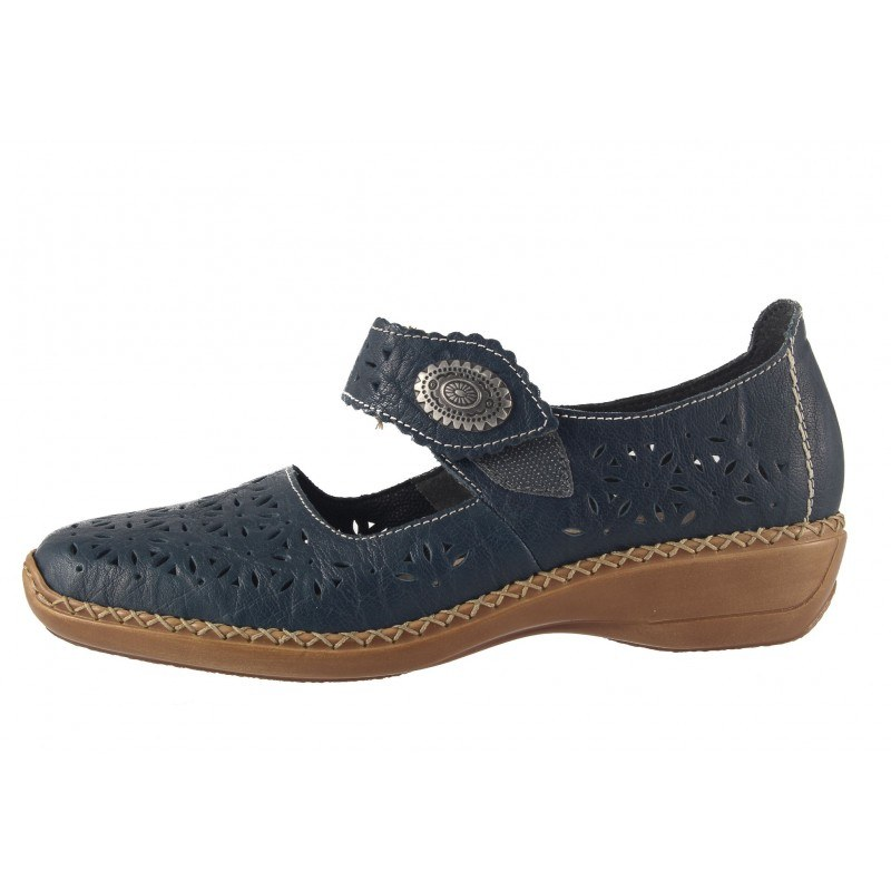 Дамски летни обувки естествена кожа Rieker сини