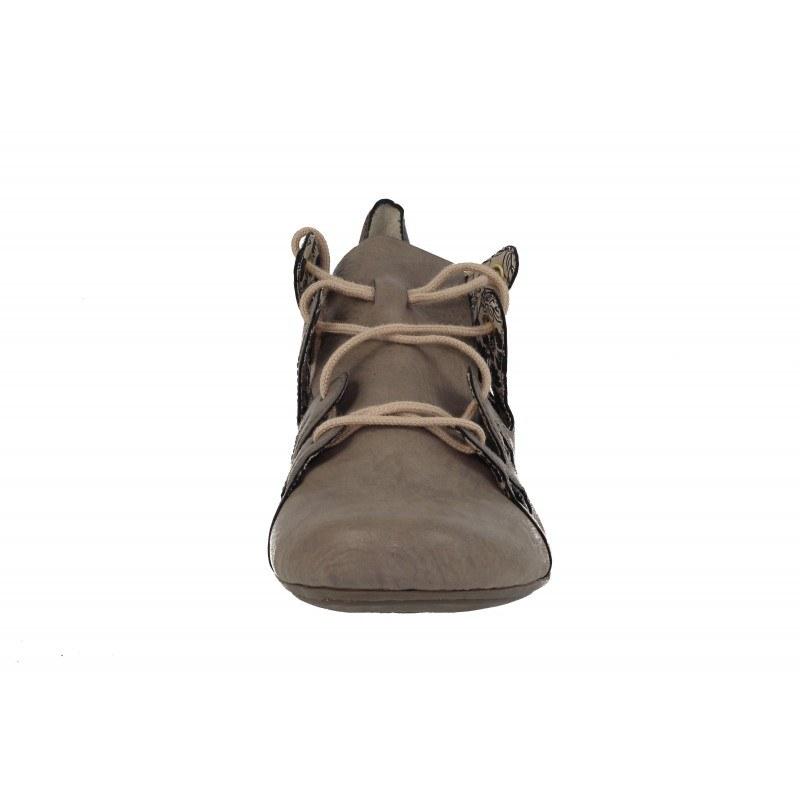 Дамски обувки с връзки на ток Rieker сиви