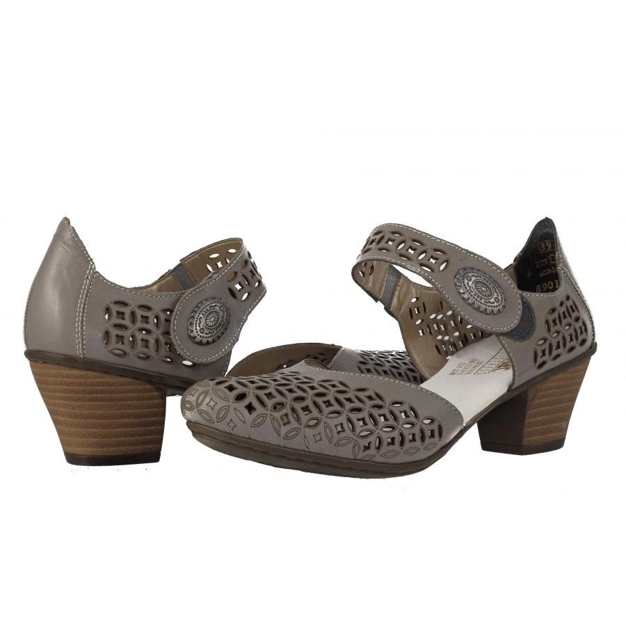 Дамски летни обувки на ток Rieker сиви естествена кожа 4505745