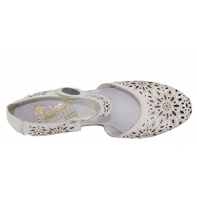 Дамски обувки на висок ток Rieker естествена кожа бели