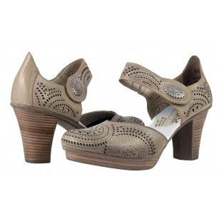 Дамски обувки на висок ток Rieker естествена кожа бежови