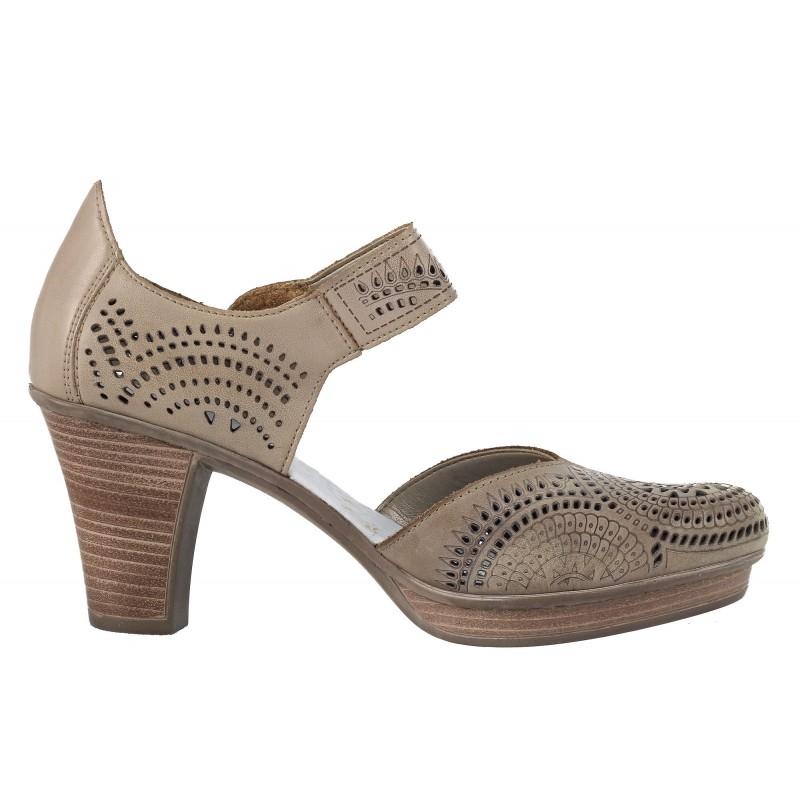 Дамски обувки на висок ток Rieker естествена кожа сиви