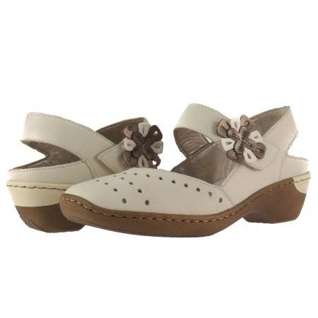 Дамски летни обувки естествена кожа Rieker бежови