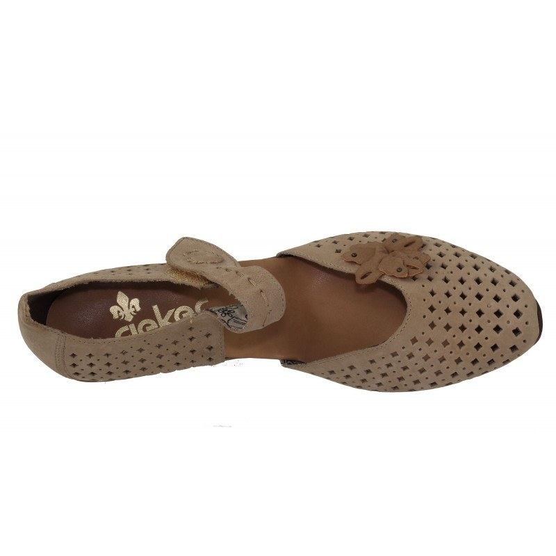 Дамски кожени летни обувки на ток Rieker светло кафяви