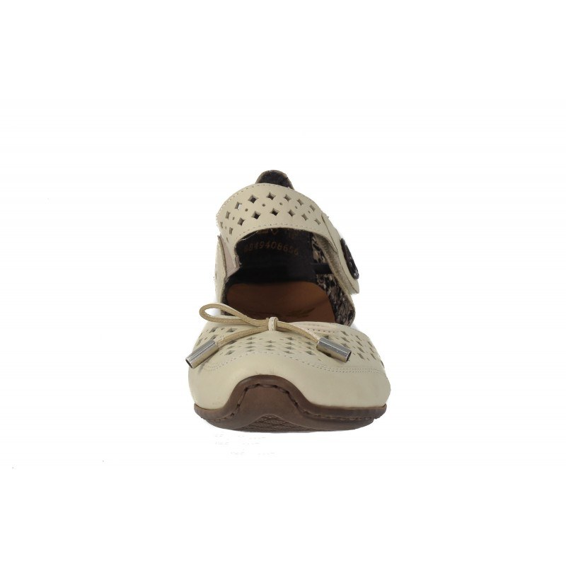 Дамски кожени летни обувки на ток Rieker светло бежови
