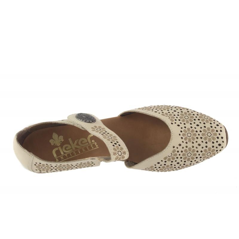 Дамски кожени летни обувки на ток Rieker бежови