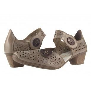 Дамски кожени летни обувки Rieker бежови