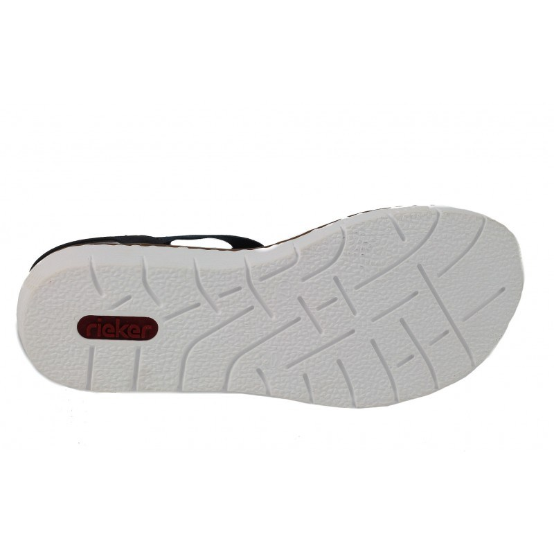 Дамски равни сандали Rieker сини/бели 60061-14