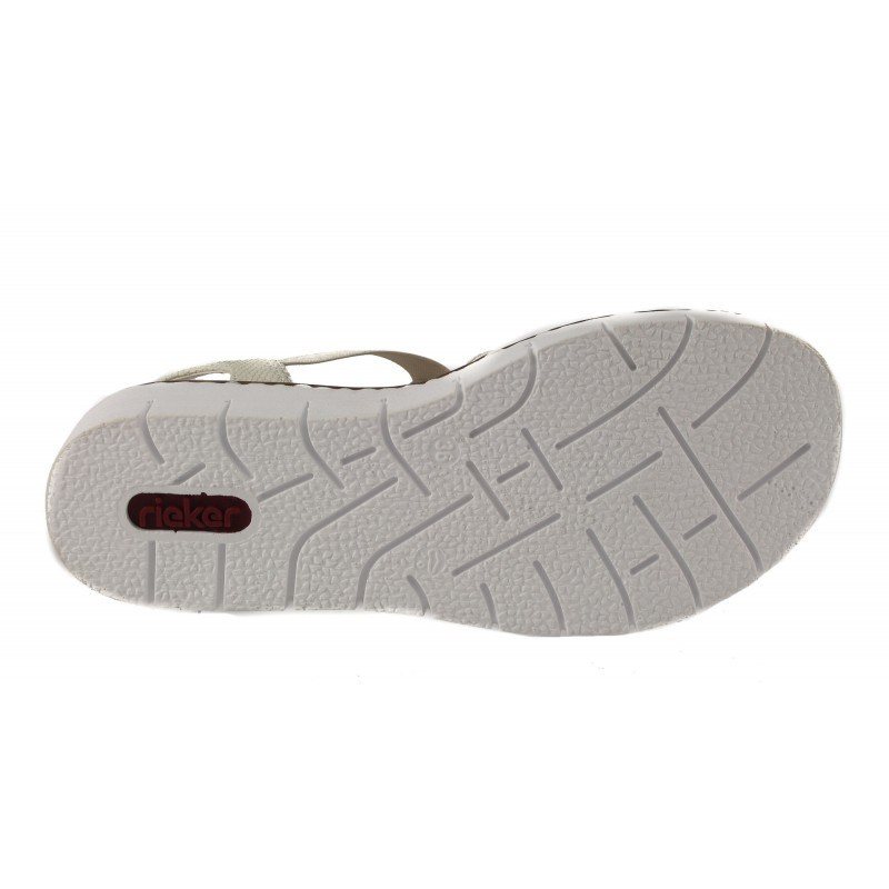 Дамски равни сандали Rieker бежови/бели 60061-80