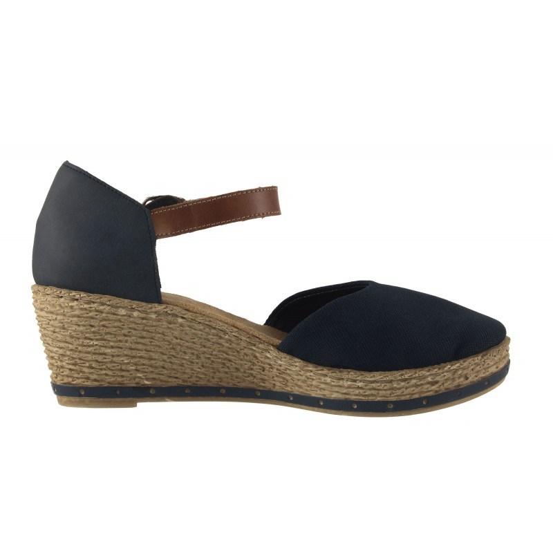 Дамски сандали на платформа Rieker сини