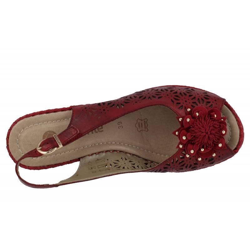 Дамски сандали естествена кожа Remonte червени