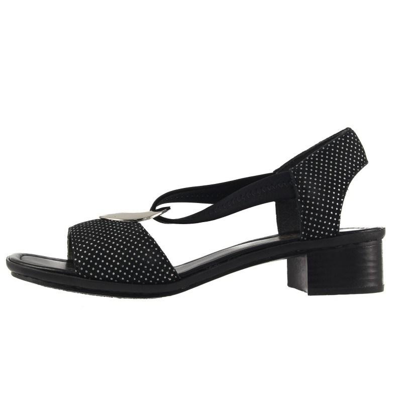 Дамски кожени сандали на ток Rieker черни