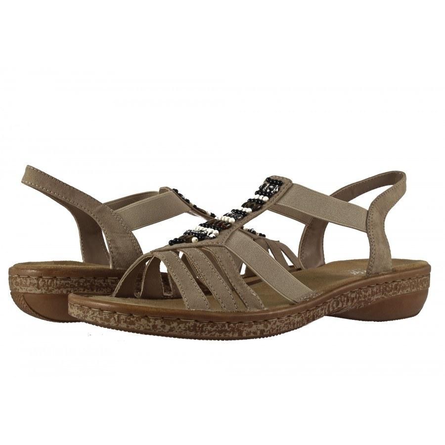 Дамски равни ортопедични сандали Rieker бежови