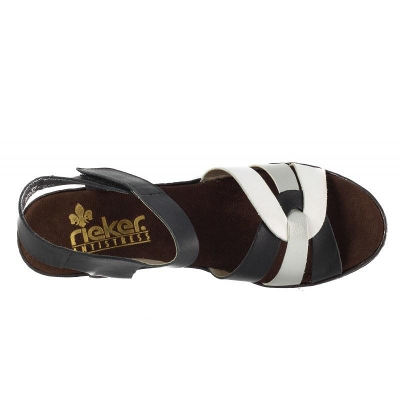 Дамски кожени сандали на ток Rieker черно/бели