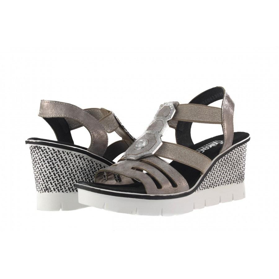 Дамски сандали на платформа Rieker сиво-бели