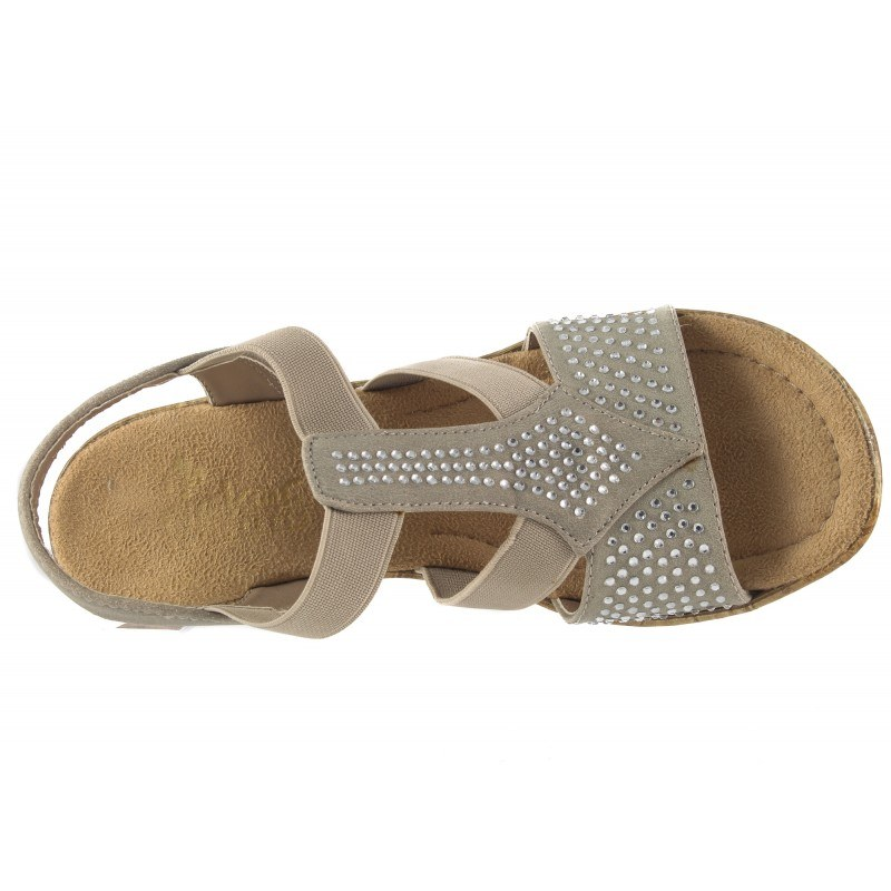 Дамски сандали на ток Rieker сиви