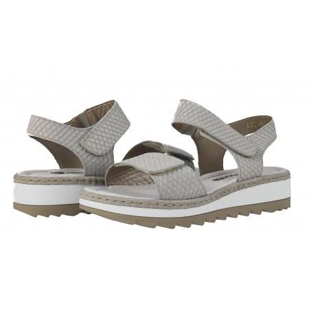Дамски кожени сандали Remonte сиви принт