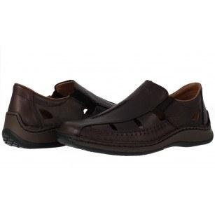 Мъжки летни обувки естествена кожа Rieker кафяви