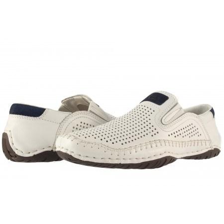 Мъжки кожени обувки без връзки бели Rieker