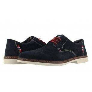 Мъжки велурени обувки с връзки Rieker сини 1301214