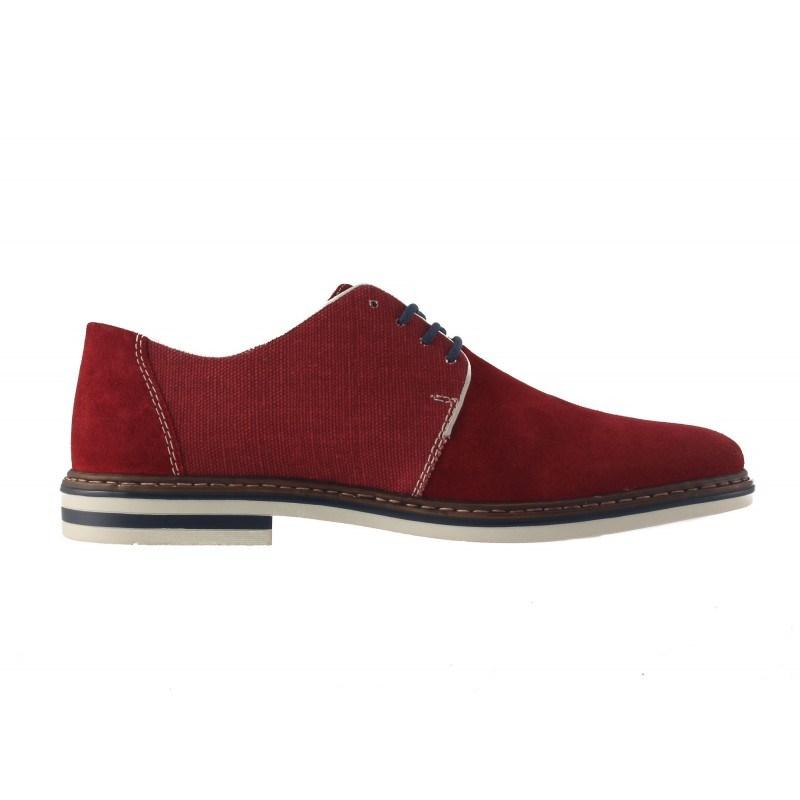 Мъжки велурени обувки с връзки Rieker червени