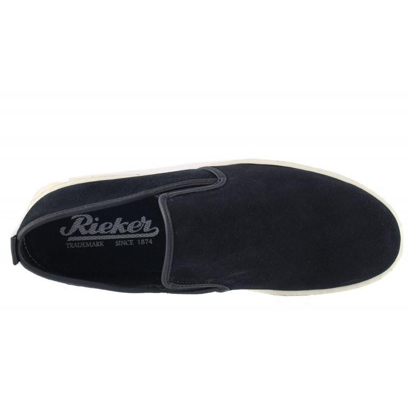 Мъжки кожени обувки без връзки Rieker сини 189501