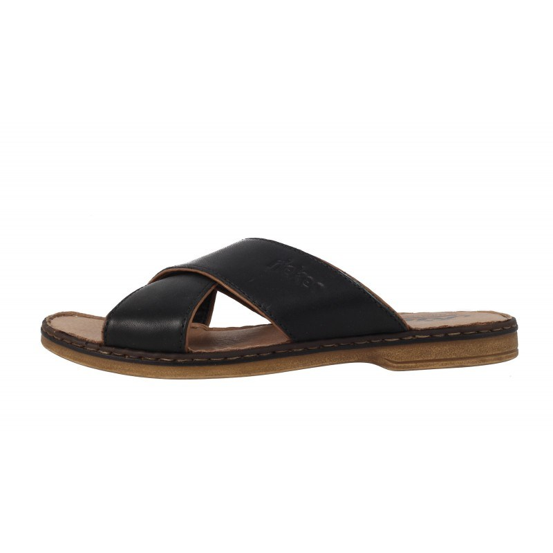 Мъжки чехли от естествена кожа Rieker черни