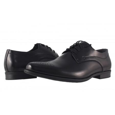 Мъжки елегантни кожени обувки с връзки Rieker черни