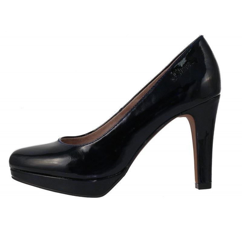 Дамски елегантни обувки на ток S.Oliver тъмно сини
