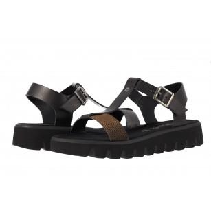 Дамски кожени сандали с платформа S.Oliver черни