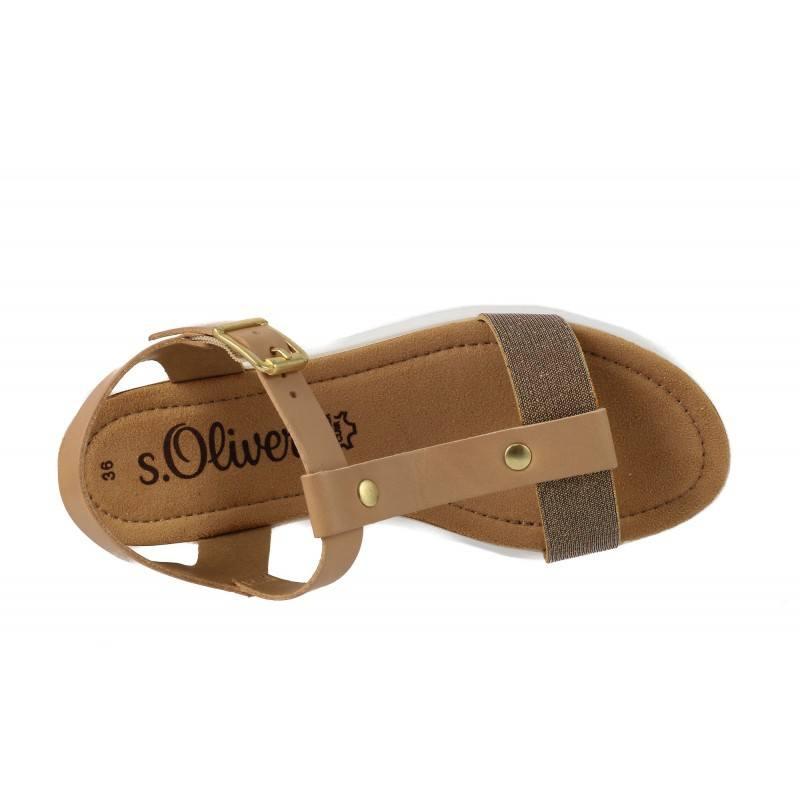 Дамски кожени сандали с платформа S.Oliver бежови