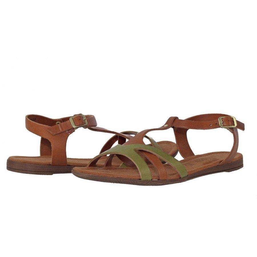 19b6bb225ff ✓ Дамски кожени равни сандали S.Oliver зелени/кафяви — Компас