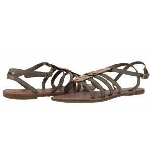 Дамски кожени равни сандали Tamaris сиви