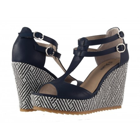 Дамски сандали на висока платформа S.Oliver сини