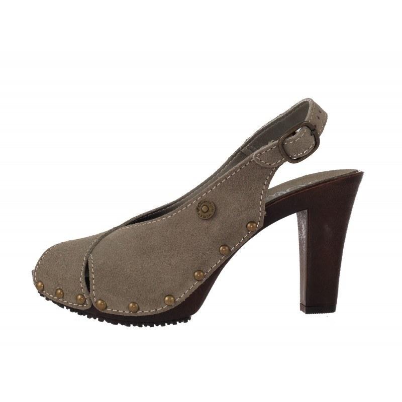 Дамски сандали на ток сив велур S.Oliver