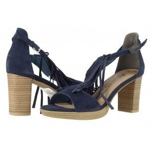 Дамски сандали на ток с ресни S.Oliver сини