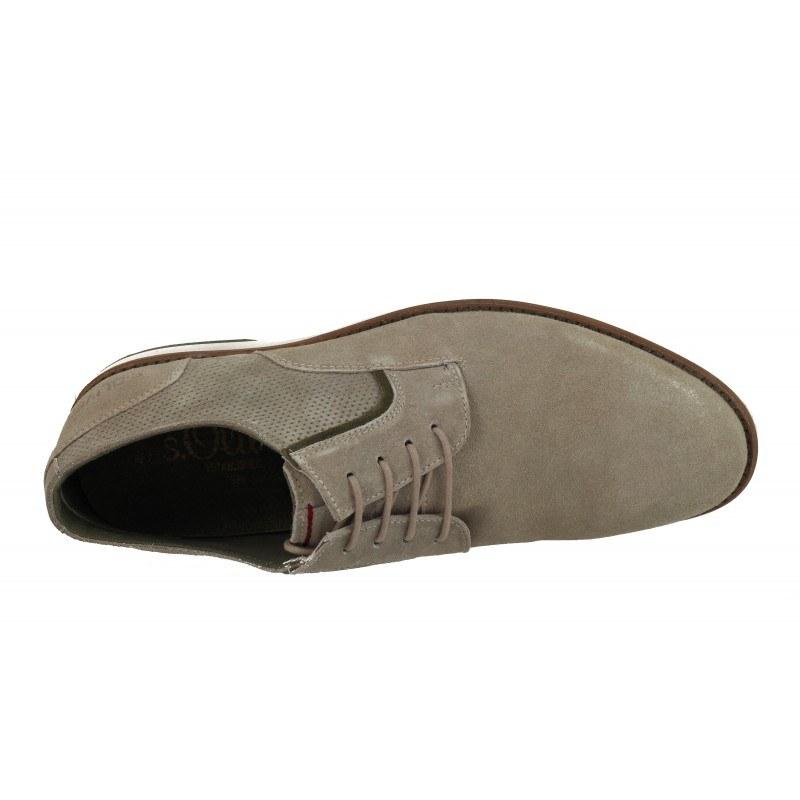 Мъжки кожени обувки с връзки S.Oliver бежови