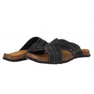 Мъжки ортопедични чехли от естествена кожа S.Oliver черни