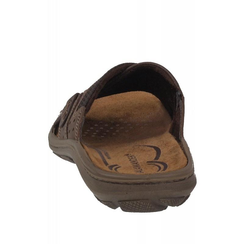 Мъжки анатомични чехли от естествена кожа Salamander кафяви