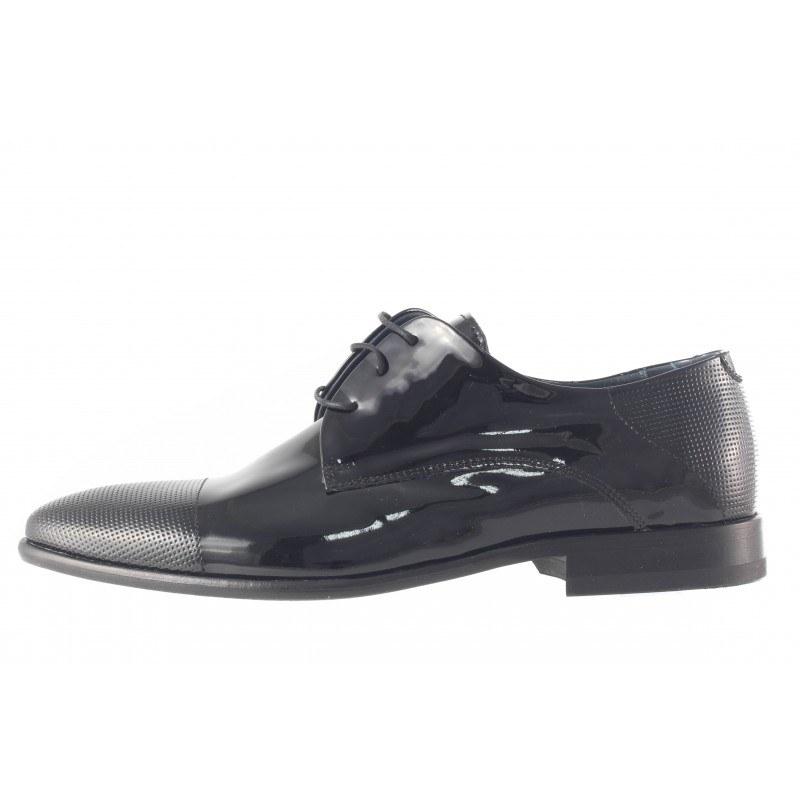 Елегантни мъжки обувки с кожена подметка Salamander черен лак