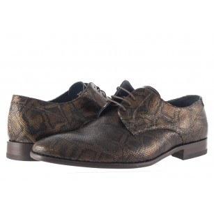 Елегантни мъжки обувки с връзки Salamander змийски принт
