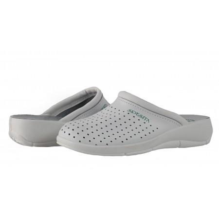 Дамски бели медицински чехли сабо от естествена кожа Spesita