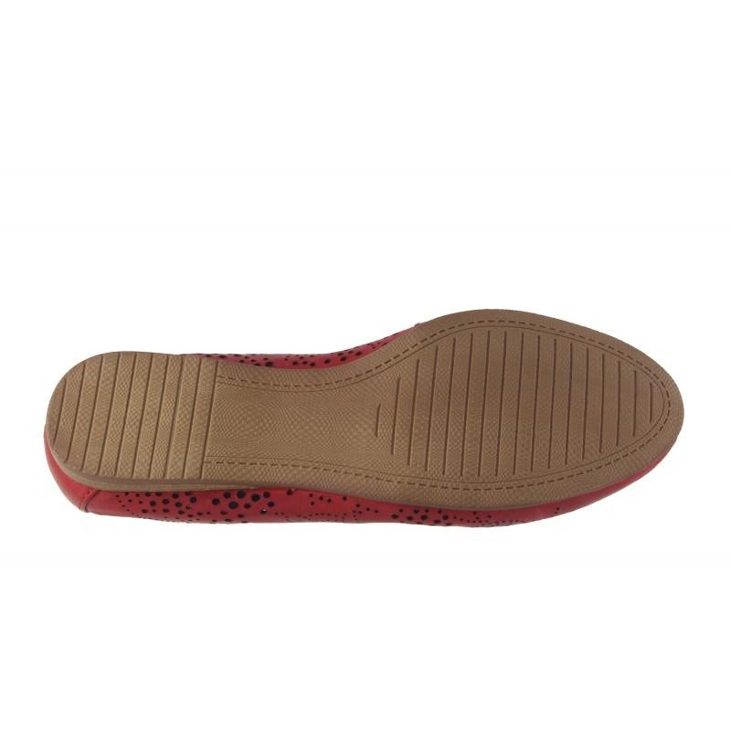 Дамски кожени обувки балерина Tamaris червени мемори пяна