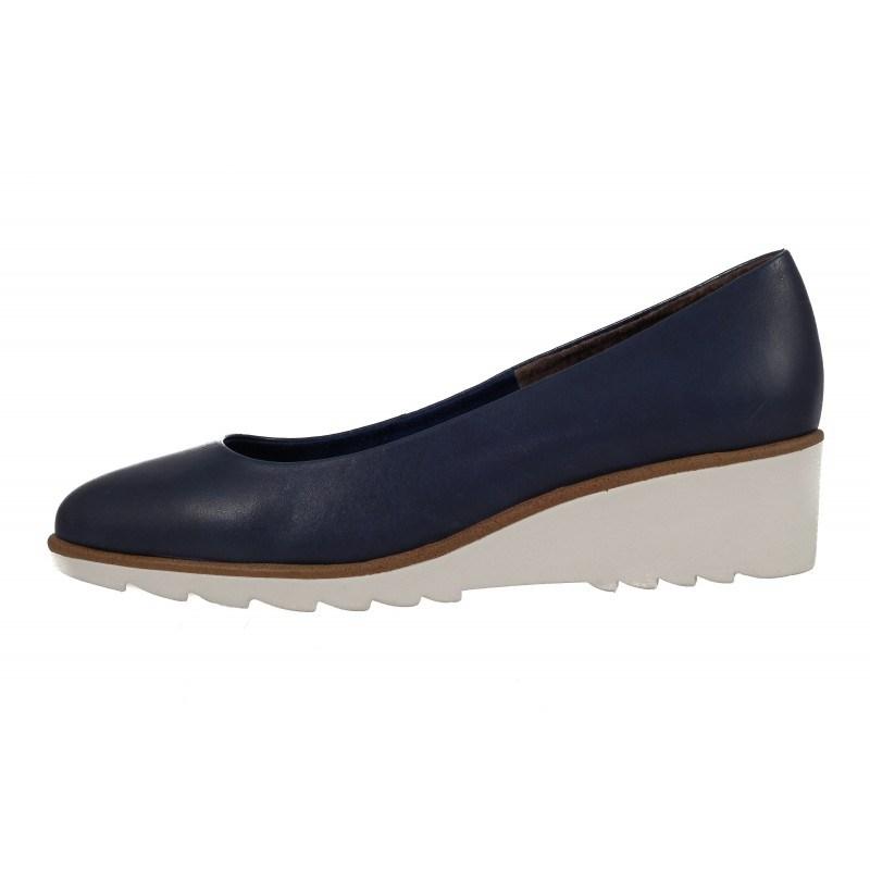 Дамски кожени обувки на платформа мемори пяна Tamaris сини