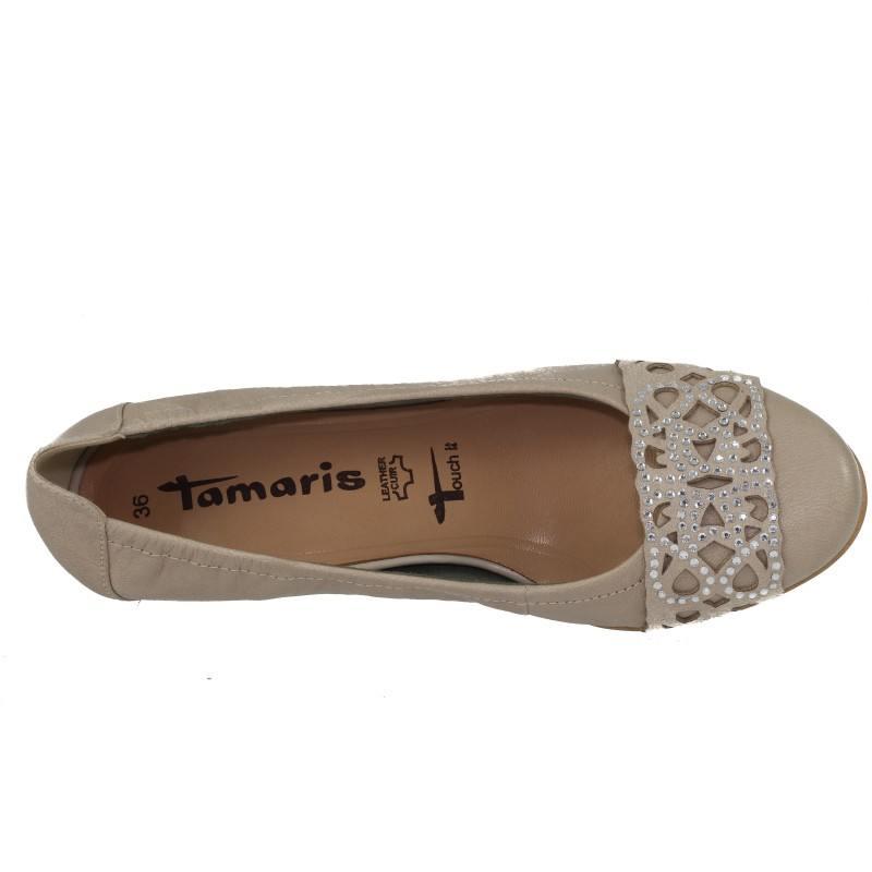 Дамски обувки на нисък ток естествена кожа Tamaris бежови с камъни