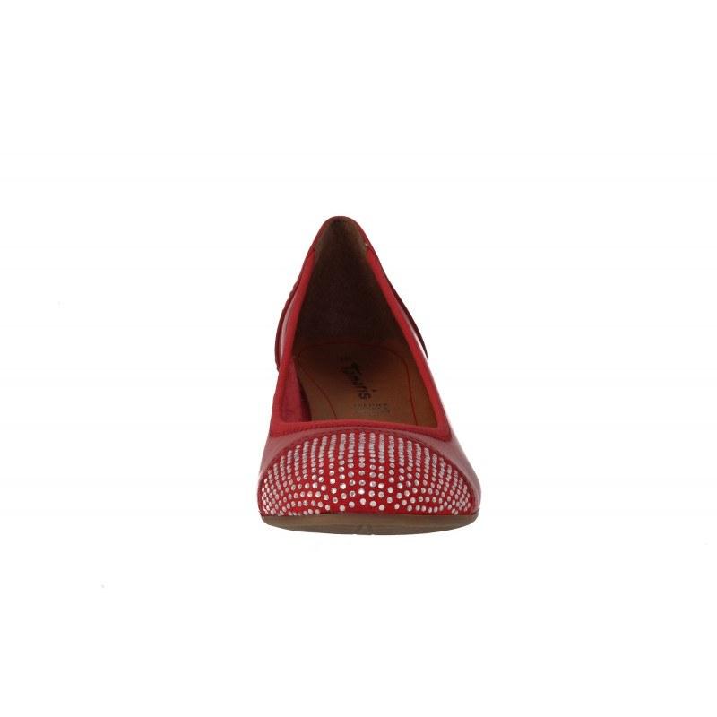 Дамски кожени обувки Tamaris мемори пяна червени камъни